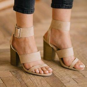 Triple black and Natural V. Suede strap Heel